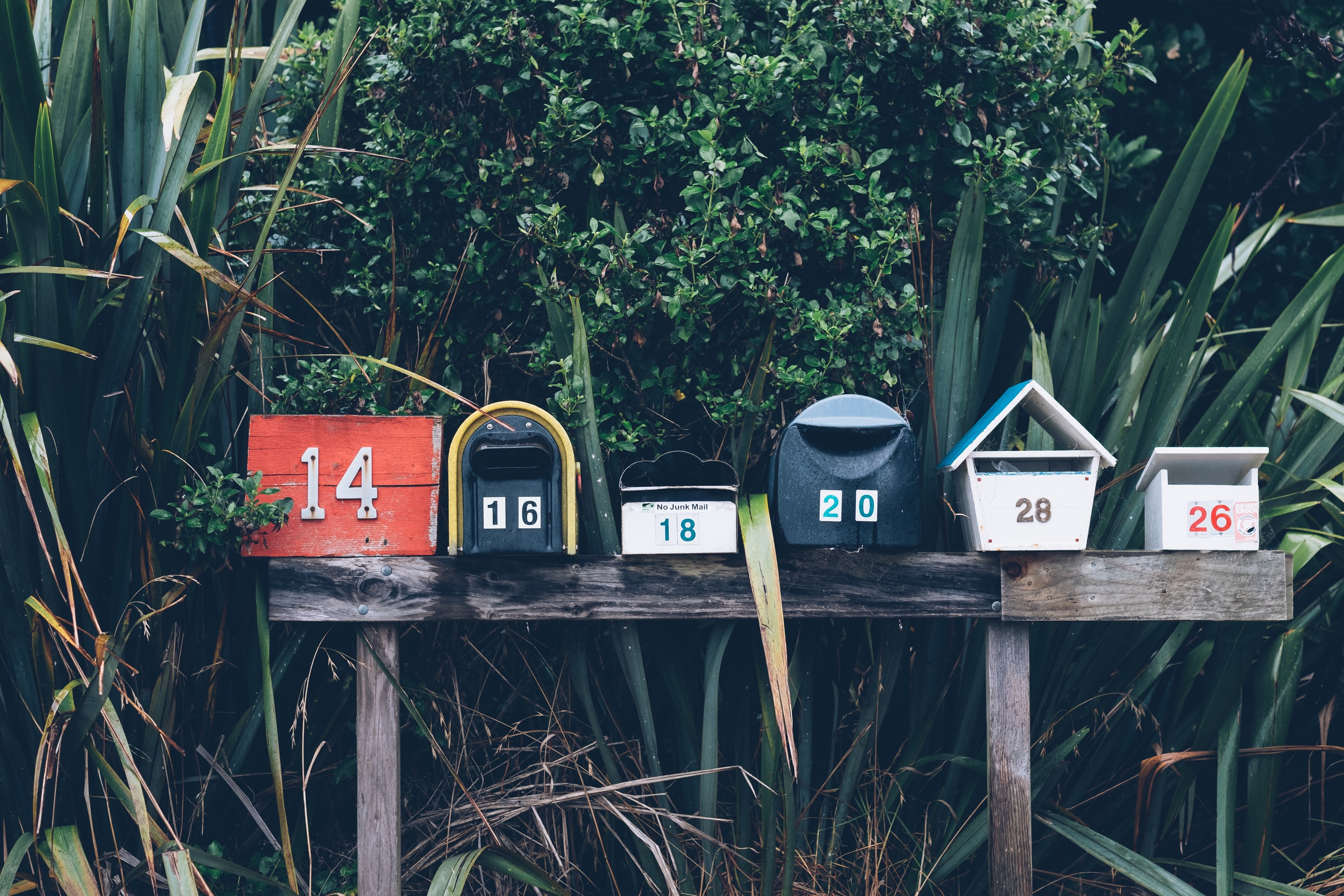 Mailing list sign-up: row of mailboxes