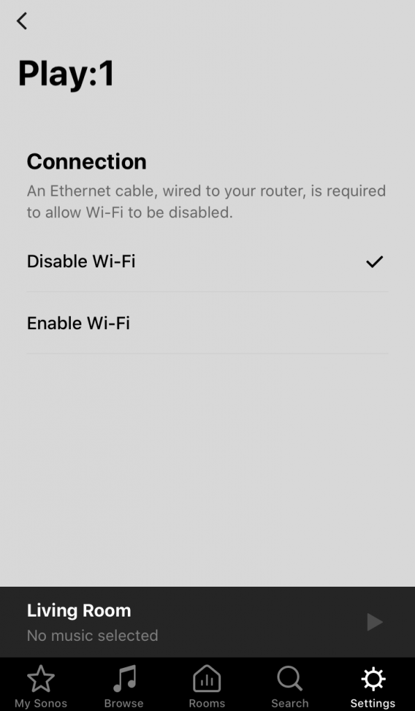 Disabling WiFi in the Sonos App