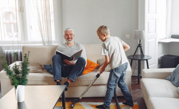 COVID-19: You Can Make a Difference. Family at home, cleaning